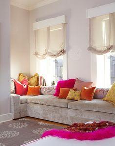great color combos--fuchsia, citrus, gold & linen