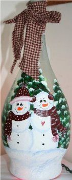 Painted Bottles With Lights Inside | back to wine bottles snowman couple on wine bottle this delightful ...