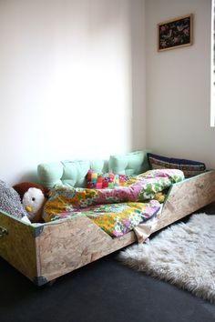 diy bed could be pushed under a higher bed for occasional use.