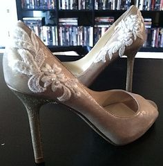 latest wedding craft: adding lace to my wedding shoes! i also previously glittered the soles & heels of the shoes too! theyre way lighter than they look in this picture : )