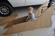 cardboard boxes, reading nooks, box car