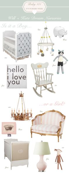 Dream Nursery for Will and Kate Designed by Layla Grayce. #laylagrayce #baby #nursery #prince #princess