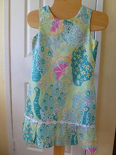 Girl's Lilly Pulitzer Drop Waist Peacock Print 100 Cotton Sleeveless Dress 12 | eBay