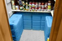 WaterBrick storage in pantry. Great idea for emergency water storage. More portable than 55 gallon water barrels.
