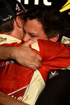 PHOTOS: Tony Stewart during an emotional moment in victory lane with his teammate and friend, Kevin Harvick. For more photos from Homestead, visit: http://www.stewarthaasracing.com/media/gallery/index.php