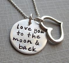 Love you to the moon and back necklace  by jcjewelrydesign on Etsy, $44.00