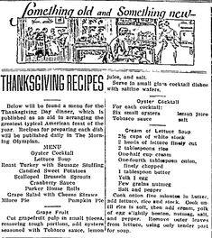 """Thanksgiving recipes published in the Morning Olympian newspaper (Olympia, Washington), 19 November 1922. Read more on the GenealogyBank blog: """"Old Fashioned Thanksgiving Recipes in the Newspaper."""" http://blog.genealogybank.com/old-fashioned-thanksgiving-recipes-in-the-newspaper.html"""