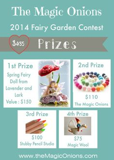 The AWESOME prizes for the Fairy Garden Contest on The Magic Onions - value $435!!! This MUST make you want to make a Fairy Garden and enter the contest :-) xo Donni