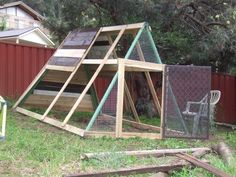 Chicken Coop from old swingset frame someday when our swing set gets old and abandoned ill do this!