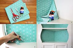fabric backed built-in shelves (easily removable!)