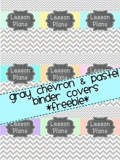 *FREEBIE* Gray chevron & pastel binder covers-9 different colors. Get organized in 2014 with these adorable covers for your lesson plan book.