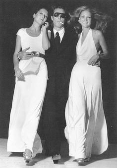Roy Halston with Elsa Peretti and Karen Bjornson, the original Halstonettes.