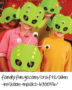 camp, idea, outer space, alien mask, masks, space theme, alien party, preschool crafts, kid