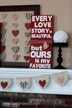 25 DIY Valentine's Day Decorations - Brittany Estes diy ideas, valentine day, diy valentine's day, valentines day decorations, valentine decorations, picture frames, mantl, quot, banner