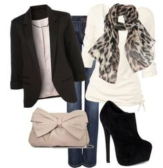 black blazer outfit, purs, fashion styles, cream top, date nights, casual fridays, work outfits, shoe, print scarf