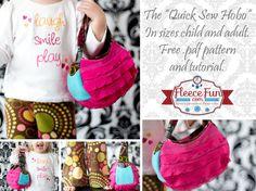 hobo purs, easi diy, little girls, quick sew, free pattern, bag patterns, hobo bags, sewing tutorials, purses