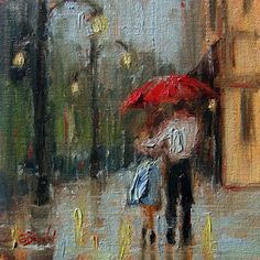 small 6 x 6 original oil painting of a couple walking in the rain.