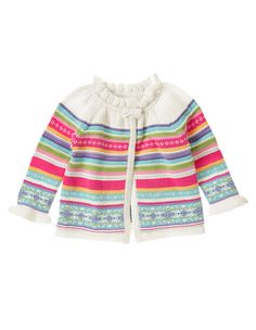 Super colorful and sweet! Darling sweater cardigan in thick and cozy cotton features Fair Isle stripes, bow and ruffle neck and cuffs for cute winter style. 100% cotton. For sizes 0-3 to 18-24 months. Button in front for easy dressing. Machine washable. Imported. Collection Name: Playful Penguin.