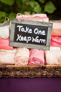 "fall favor ""Take on and keep warm"" pashminas in pinks for your wedding guests"