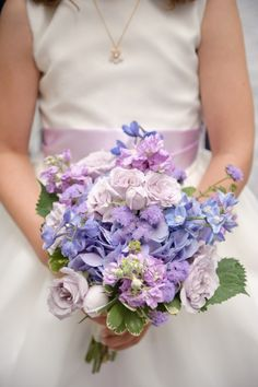 The Ivy Room Wedding by avery house | Style Me Pretty bridal bouquets, color, wedding bouquets, bouquet wedding, purple wedding flowers, house styles, blue bouquets, flower girls, purple bouquets