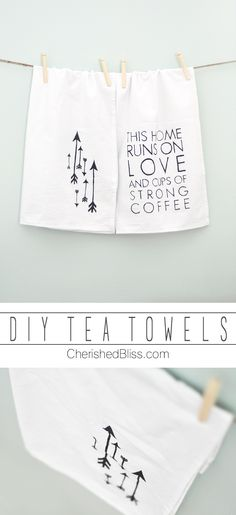 Create these fun DIY Tea Towels with this simple tutorial! via cherishedbliss.com