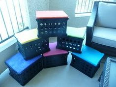 Storage crate seats for my reading center