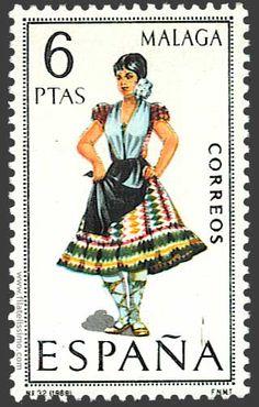 Trajes regionales españoles en sellos MALAGA