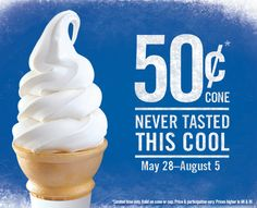 Through August 5, 2013, get Burger King Soft Serve Ice Cream Cones or Cups for just $0.50. No coupon needed!