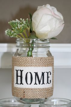 Burlap Covered Pint Size Mason Jar Candle Utensil Pencil Holder Candy Cookie Jar Wedding Centerpiece