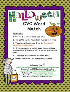 """FREE LANGUAGE ARTS LESSON - """"Halloween CVC Word Match FREEBIE!"""" - Go to The Best of Teacher Entrepreneurs for this and hundreds of free lessons.  #FreeLesson  #Language Arts   #Halloween   http://www.thebestofteacherentrepreneurs.net/2012/10/free-language-arts-lesson-halloween-cvc.html"""
