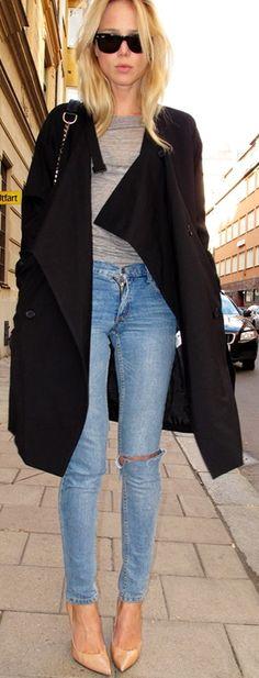 #black coat #2dayslook #alex2578923 #blackjacket http://pinterest.com/alex2578923