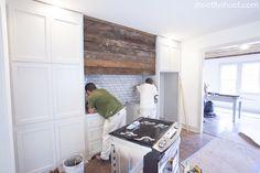 Rustic Wood Range Hood   White Subway Tile   Kitchen   Revere Pewter Cabinets   Ashley Gilbreath