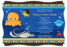 Under The Sea Critters - Squiggle Shaped Baby Shower Invitations. Go to: http://www.modern-baby-shower-ideas.com/fun-baby-shower-ideas.html use coupon code: modern11 and save 11%