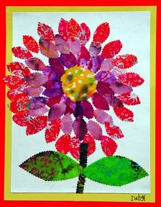 cut fabric collage (finger paint)