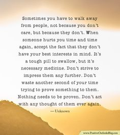When walking away...