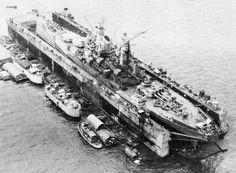 USS Iowa in a floating drydock at Manus Island, Ulithi Atoll, 28 December 1944.
