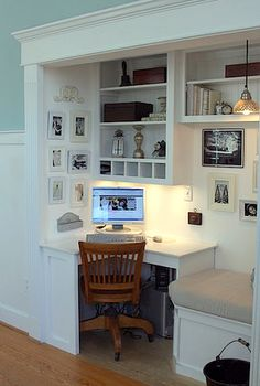 Closet Office. Such a good use of small space. And who can't use closet shelves after?