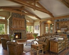Living Room Log Cabin Kitchens Design, Pictures, Remodel, Decor and Ideas - page 7