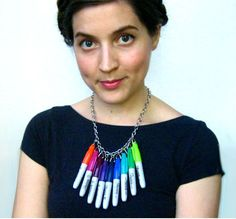 multicolor sharpie necklace
