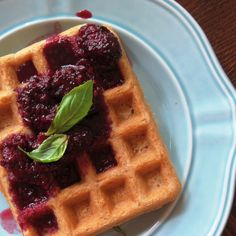 GF Vegan Waffles with Blackberry-Basil Maple Syrup ~ light, crisp, plant-based waffles are the perfect breakfast or brunch, made with wholesome ingredients and topped with a flavorful syrup!