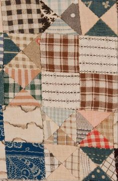 """TRIANGLES VARIATION DOLL QUILT    BOWTIE AND FOURPATCH  Circa 1895  17 1/2"""" x 21 3/4""""     New York State."""