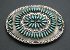 Zuni Silver and Turquoise Petit Point Belt Buckle