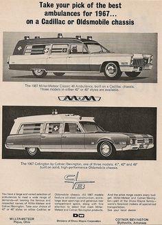 1967 Cadillac Oldsmobile ambulances by Miller-Meteor & Cotner/Bevington
