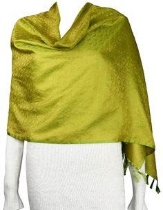Long Olive Green Scarf Silk Mustard Paisley Fashion Accessory Women: Amazon.co.uk: Clothing