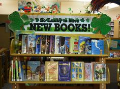 """So Luck to Have New Books!"" library book bulletin board display"