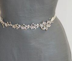 Bridal sash. Vintage style bridal sash, Wedding Sash Belt Bridal Sash Crystal Rhinestone Bridal Belt. $92.00, via Etsy.