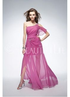 Pink One-Shoulder Natural Floor-length Sheer Chiffon Prom Dress With Flouncing And Beading #pretty #simple #dress