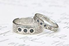 wedding band set with three sapphires once upon by peacesofindigo. $639.00, via Etsy.