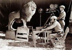 Shooting the original MGM logo.
