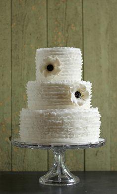 Ruffles and Anemones Wedding Cake